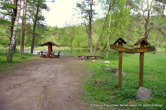 The resort is located in front of the confluence of the Dūkštas and the Neris